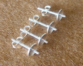 925 Sterling Silver PAD Earring Post (6mm) With PEG and Earring Backs - 20 Pairs (40 Pieces)