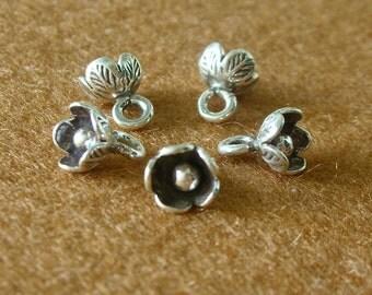Karen Silver BELL FLOWER Charms (I) - 4 Pieces