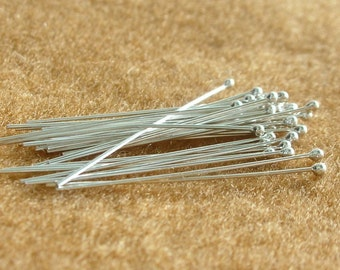 925 Sterling Silver BALL HEADPINS 24 Gauge 1.25 Inches (30 mm.)  - 100 Pieces