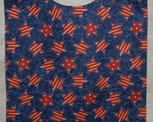 Adult Rib Bib/Clothing Protector/Shield/Make-Up Bib, Long Length - Rustic Red Stars on Blue - Ready to ship