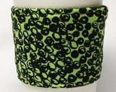 Special - Coffee Cozy, Cup Sleeve, Eco-Friendly, Slip-on: Black Swirls on Green