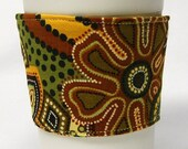 Coffee Cozy, Cup Sleeve, Eco Friendly, Slip-on: Green and Gold Beaded Floral