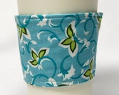 Clearance - Coffee Cozy, Cup Sleeve, Eco-Friendly, Slip-on:  Teal Vine with Green Leaves