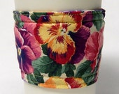 Special - Coffee Cozy, Cup Sleeve, Eco Friendly, Slip-on: Pansy Print