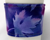 Coffee Cozy, Cup Sleeve, Eco Friendly, Slip-on: Purple Fall Leaves