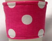 Coffee Cozy/Cup Sleeve Eco Friendly Slip-on, Teacher Appreciation, Co-Worker Gift, Bulk Discount:  Large White Polka Dots on Pink