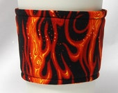 Coffee Cozy/ Cup Sleeve Eco Friendly Slip-on: Orange Flames on Black - Teacher Gift