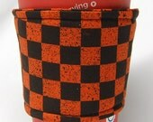 Special - Coffee Cozy, Cup Sleeve, Eco Friendly, Slip-on: Orange and Black Checkered