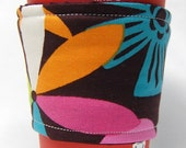 Coffee Cozy/Cup Sleeve Eco Friendly Slip-on, Teacher Appreciation, Co-Worker Gift: Mod Brown, Pink, Orange and Teal Print