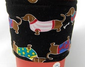Coffee Cozy/ Cup Sleeve Eco Friendly Slip-on: Doxy Parade on Black