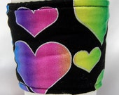 Valentine's Day-Coffee Cozy, Cup Sleeve, Slip-on, Eco Friendly: Silver Outlined Hearts on Black