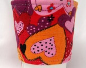 Coffee Cozy/ Cup Sleeve Eco Friendly Slip-on: Corduroy Pink, Orange and Red Hearts