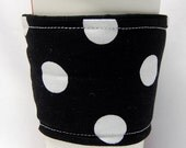 Coffee Cozy, Cup Sleeve, Eco Friendly, Slip-on: Large White Polka Dots on Black