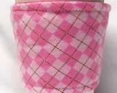 Coffee Cozy/ Cup Sleeve Eco Friendly Slip-on: Pink Argyle