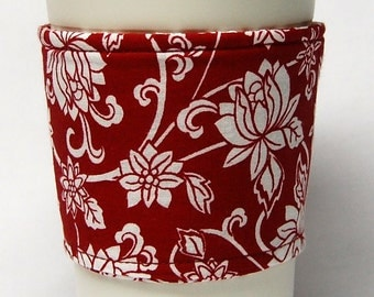 Coffee Cozy/Cup Sleeve Eco Friendly Slip-on, Teacher Appreciation, Co-Worker Gift, Bulk Discount: Red and White Damask