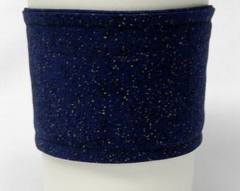 Coffee Cozy/Cup Sleeve Eco Friendly Slip-on, Teacher Appreciation, Co-Worker Gift, Bulk Discount:  Navy Blue with Gold Accents