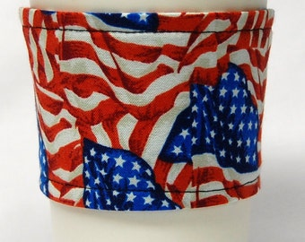 Coffee Cozy/ Cup Sleeve Eco-Friendly, Slip-on, Teacher Appreciation, Co-Worker, Bulk Discount: American Flag