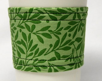 Coffee Cozy/ Cup Sleeve, Eco Friendly, Slip-on:, Teacher Appreciation, Co-Worker Gift, Bulk Discount Light and Medium Green Sprigs