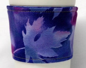 Coffee Cozy/Cup Sleeve Eco Friendly Slip-on, Teacher Appreciation, Co-Worker Gift, Bulk Discount: Purple Fall Leaves