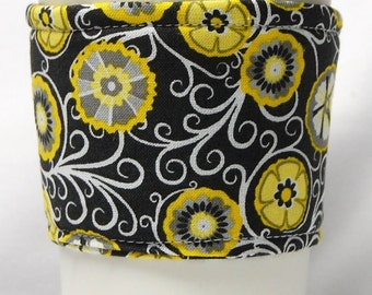 Coffee Cozy/ Cup Sleeve, Eco Friendly, Slip-on, Teacher Appreciation, Co-Worker Gift, Bulk Discount: Yellow Citrus on Black