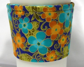 Coffee Cozy/Cup Sleeve Eco Friendly Slip-on, Teacher Appreciation, Co-Worker Gift, Bulk Discount:  Teal/Orange/Purple Oriental Floral