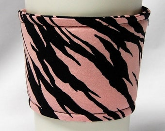 Coffee Cozy/Cup Sleeve Eco Friendly Slip-on, Teacher Appreciation, Co-Worker Gift, Bulk Discount: Pink and Black Zebra Print