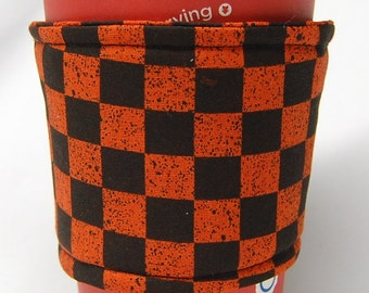 Coffee Cozy/Cup Sleeve Eco Friendly Slip-on, Teacher Appreciation, Co-Worker Gift, Bulk Discount: Orange and Black Checkered