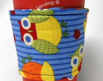 Coffee Cozy/Cup Sleeve Eco Friendly Slip-on, Teacher Appreciation, Co-Worker Gift, Bulk Discount: Green, Yellow, Owls and Ladybugs on Blue