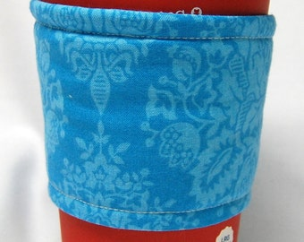 Coffee Cozy/Cup Sleeve Eco Friendly Slip-on, Teacher Appreciation, Co-Worker Gift, Bulk Discount: Teal Damask