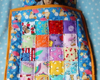 Doll Quilt, Pillow and Pillow Case Set - Fairies and Wands - Ready to Ship