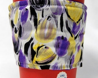 Coffee Cozy, Cup Sleeve, Eco Friendly, Slip-on, Teacher Appreciation, Co-worker gift, Bulk Discount: Purple and Yellow Tulips