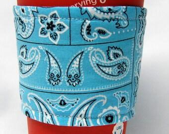 Coffee Cozy/Cup Sleeve Eco Friendly Slip-on, Teacher Appreciation, Co-Worker Gift, Bulk Discount: Aqua Bandanna Print