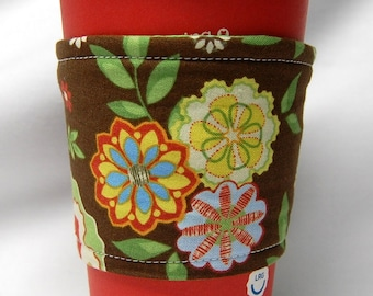 Coffee Cozy/ Cup Sleeve Eco Friendly Slip-on: Bavarian Inspired Floral