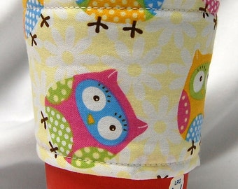 Coffee Cozy/Cup Sleeve, Eco Friendly, Slip-on, Teacher Appreciation, Co-Worker Gift, Bulk Discount: Owls on White