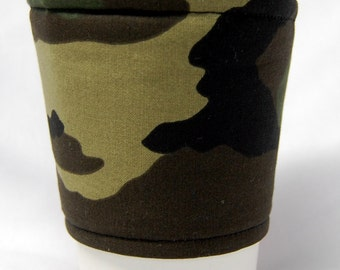 Coffee Cozy/Cup Sleeve, Eco-Friendly, Slip-on, Teacher Appreciation, Co-Worker Gift, Bulk Discount: Camouflage