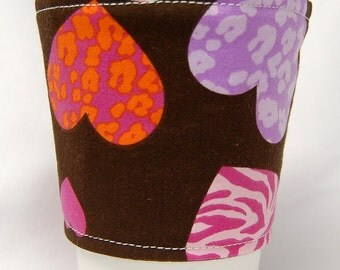 Coffee Cozy/Cup Sleeve Eco Friendly Slip-on, Teacher Appreciation, Co-Worker Gift, Bulk Discount: Pink and Purple Animal Print Hearts