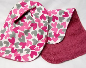 Baby Girl Bib and Burp Cloth Set, Baby Shower Gift, Welcome Baby Gift: Pink and Gray Hearts