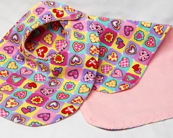 Baby Girl Bib and Burp Cloth Set, Baby Shower Gift, Welcome Baby Gift: Hearts on Pink, Yellow and Green
