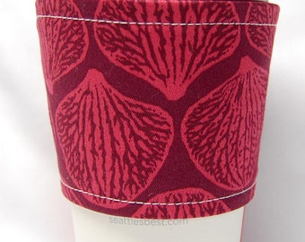 Coffee Cozy, Cup Sleeve, Eco Friendly, Slip-on, Teacher Appreciation, Co-Worker Gift, Bulk Discount: Magenta Shells