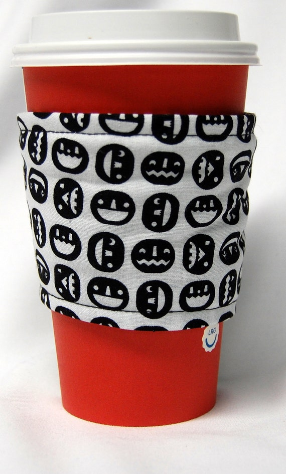 Coffee Cozy, Cup Sleeve, Eco Friendly, Slip-on: Jack-O-Lanterns in Black and White FREE US 1st Class S/H on 5-9 cup cozy order