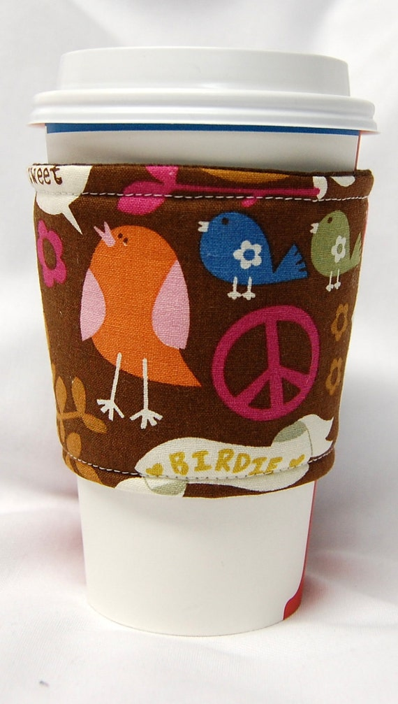 Coffee Cozy/ Cup Sleeve Eco Friendly Slip-on, Teacher Appreciation, Co-Worker Gift: Birds and Peace Signs on Brown