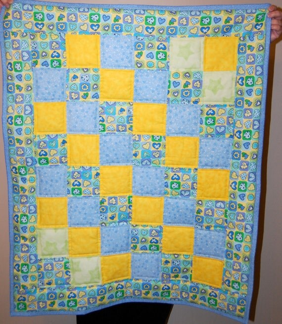 Portable Crib Quilt:  Blue, Green Hearts with Yellow Accents - Ready to Ship