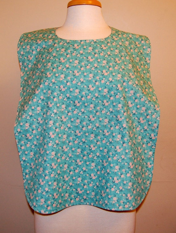 Clothing Protector/Shield/Rib Bib Long Length, 19-inch (48cm) Neck Opening:  Peach and Teal Flowers