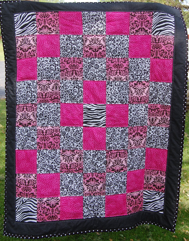 Zebra Quilting Patterns : Lap Quilt Cheetah Pink Print Zebra Print Black and White