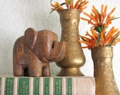 SALE-Vintage Set of Two Moroccan Style Etched Brass Bud Vases