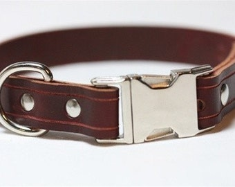 Leather Dog Collar - Quick Release- 1 inch Wide