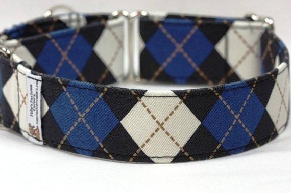 Dog Collar/ Custom Dog Collar - Blue Argyle