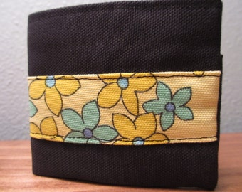 Handmade Cloth Wallet - Black Canvas with Small Flowers