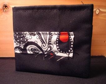 Handmade Cloth Wallet -Black w\/ paisley pattern