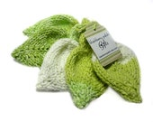 Knit Cotton Leaf Scrubbies Variegated Lime no2